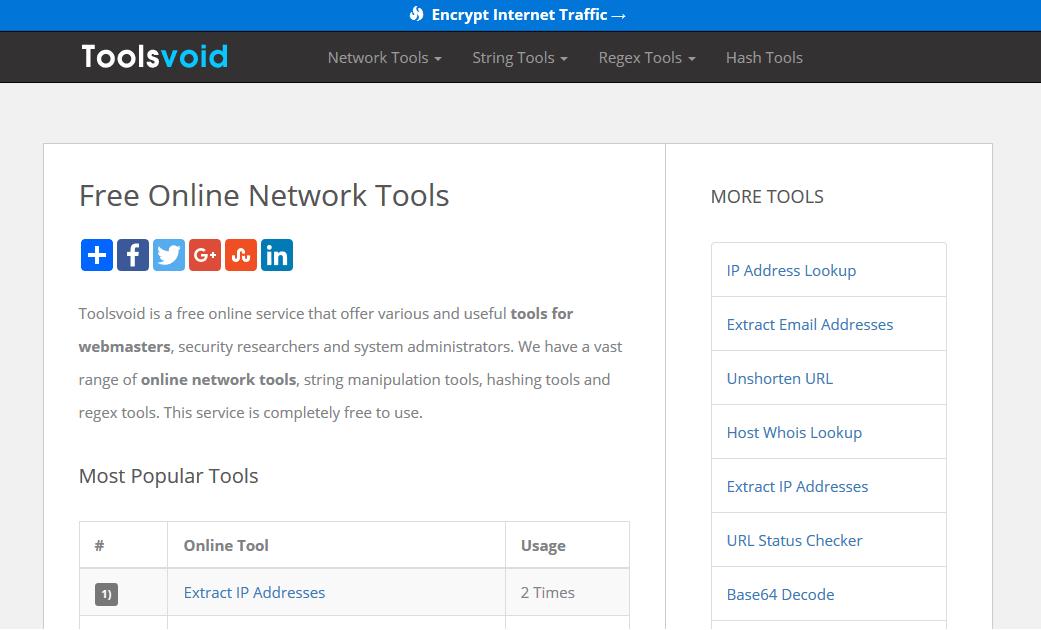 Free Online Network Tools | Toolsvoid